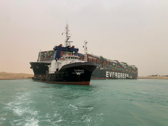 Manager of ship stuck in Suez working to refloat vessel, no pollution seen